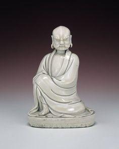 A blanc de chine figure representing the legendary founder of Buddhism, Bodhhidharma, BM Franks.54.+