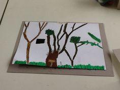 É um desenho de paisagem da escola da vila feito por Pedro Nomura