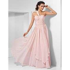 A-line One Shoulder Floor-length Chiffon Evening Dress – USD $ 149.99 - This could be a contender for a wedding dress.. in champagne color with a dark teal sash...