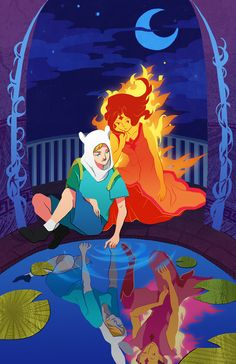 Adventure Time. Finn and Flame Princess with Fionna and Flame Prince as their reflections.