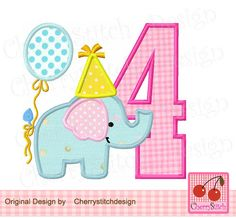 Birthday Elephant Number 4,  Baby Elephant with number 4, Birthday number applique -4x4 5x5 6x6 inch-Machine Embroidery Applique Design by CherryStitchDesign on Etsy