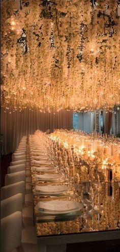 Stunning flower ceiling decoration for wedding reception Wedding Goals, Wedding Themes, Wedding Designs, Wedding Planning, Luxury Wedding Decor, Wedding Dresses, Wedding Table, Wedding Reception, Our Wedding