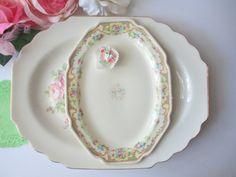 Shabby Vintage Pink Floral Serving Platter Pair by jenscloset