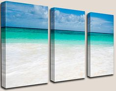 Beach Decor, GICLEE Canvas Art, Photography, Decorations, Turquoise, Caribbean, Beach, Sand, Waves, Barbados, Coastal, Triptych, Home Decor
