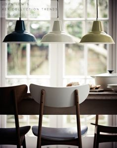 3 identical pendant lights - 3 colours. awesome. adore the chairs, too