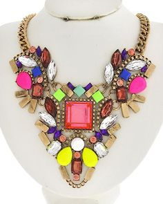 NEW Multicolored & Clear Acrylic Necklace. http://2chiqueboutique.com/
