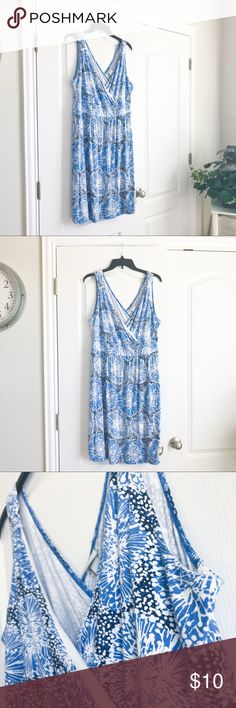 Scatter Print Summer Dress Pre-loved but in good condition! Minor wear. No stains, snags, or tears.    PRODUCT DETAILS: •Size: 16W / 18W •Colors: Blue, White, Black •Made in China •Measurements: Chest-20inch. Waist-17inch Length-39inch • 95% rayon, 5% spandex •Machine Wash •Scatter Print almost like dandelion •Lining for bust area •Vneck & Vback • • •  Tags: Merona Dresses Mini