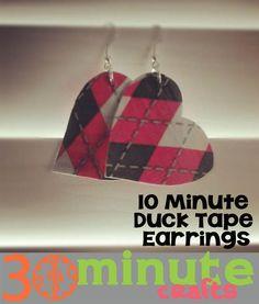 10 Minute Duck Tape Earrings