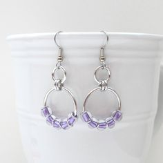 Hey, I found this really awesome Etsy listing at https://www.etsy.com/listing/158232739/lavender-beaded-chainmaille-earrings