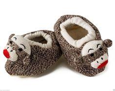 Childrens Sock Monkey Slippers - Kids Footwear Unisex Child Youth Size 4-6 NEW!