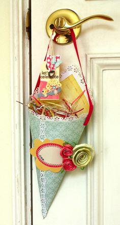 Sweetie Cone Door Hanger... imagine finding this on your door handle on the morning of your Birthday! =)