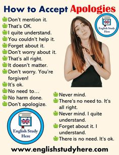 How to Accept Apologies in English Speaking English Study Here Studying Tips 2019 Englisch lernen, E Learn English Speaking, English Learning Spoken, Teaching English Grammar, English Writing Skills, Learn English Words, English Language Learning, How To Speak English, German Language, Japanese Language