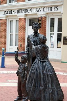 Lincoln family statue in front of Abe's original law office in Springfield, Illinois.