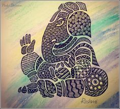 - recreated the outline from a clip art I found online and I filled it with patterns , after I had colored the page. Ganesha Sketch, Ganesha Drawing, Ganesha Painting, Ganesha Art, Lord Ganesha, Shri Ganesh, Durga, Madhubani Art, Madhubani Painting