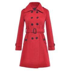 Fashionable Solid Color Turn-Down Collar Double-Breasted Long Sleeve Coat For Women ($43) found on Polyvore featuring outerwear, coats, red coat, long sleeve coat, red double breasted coat, collar coat and double breasted coat