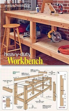 Heavy Duty Workbench Plans - Workshop Solutions Projects, Tips and Tricks | WoodArchivist.com #WoodworkingIdeas