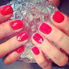 Gel Polish Mani with Swarovski Crystals - Nails by Me