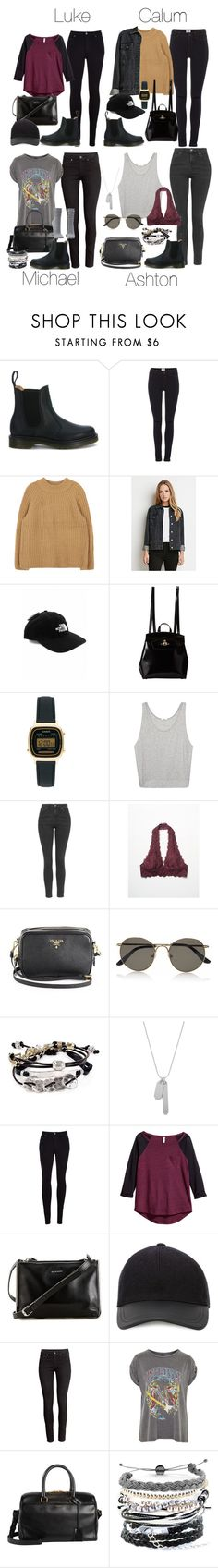 """5SOS Styles: Dr Martens Chelsea Boots"" by fivesecondsofinspiration ❤ liked on Polyvore featuring Dr. Martens, Vero Moda, Forever 21, The North Face, Vivienne Westwood, Casio, Helmut Lang, Topshop, Free People and Prada"