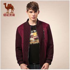 Camel jacket men stitching collar sleeve cuffs casual men's coat jacket