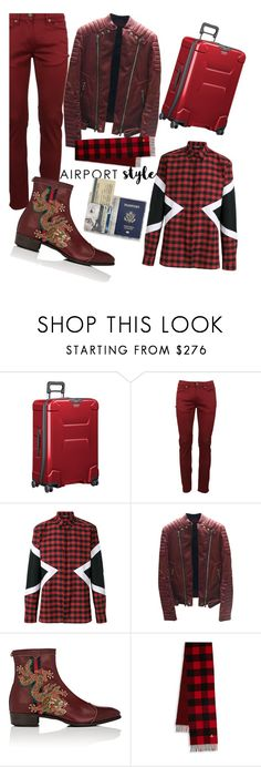 """""""mens Dragon boot"""" by juwi777 ❤ liked on Polyvore featuring Briggs & Riley, Burberry, Neil Barrett, Balmain, Gucci, men's fashion, menswear and airportstyle"""