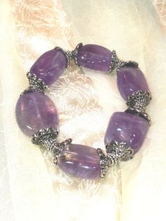 Amethyst Nugget Bracelet With Silver Accents by NorthCoastCottage