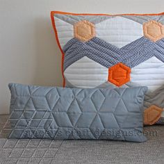 slim grey cushion with Hexagoned Chervon cushion by Stacey's Craft Designs