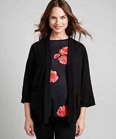 Black Kimono Maternity Jacket