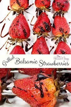 Grilled Balsamic Strawberries perfect for easy entertaining this summer. #homemadeandyummy #grilledstrawberries #balsamic #grilledfruit #easydessert #grilleddessert #strawberryrecipes #freshberries #bbqrecipes | homemadeandyummy.com