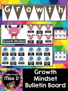 Growth Mindset Bulletin Board Encourage a Growth Mindset with this bright Growth Mindset Bulletin Board. There are a total of 36 statements - 18 Fixed Mindset and 18 Growth Mindset. You have a choice between Black/Gold and Rainbow Bunting for a header display.