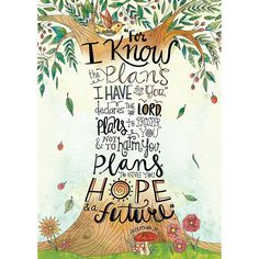 """Motivate and inspire with the powerful message on this Scripture-based poster! Jeremiah 29:11 is beautifully illustrated through a creative Doodle Art tree design on this Rejoice Inspire U poster. """"Fo"""