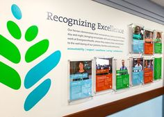 Danielle W Papes - EvergreenHealth Employee Recognition Exhibit Wall Office Wall Design, Office Walls, Office Wall Graphics, Donor Wall, Office Branding, Employer Branding, Employee Recognition, Recognition Ideas, Office Pictures