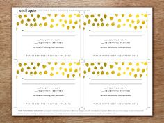 Print-at-home printable RSVP card templates featuring golden dots. Just download, enter your text, print and cut!