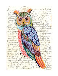 OWL print of an original whimsical painting by irinashop on Etsy, $20.00