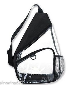 CLEAR Sling Backpack Bag Purse Tote Black Trim Small Mini Stadium Game Security