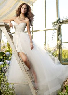 Lace mini dress/wedding gown by Tara Keely. Take the long tulle skirt off for the reception. would be adorable with cowboy boots! Wedding Dress 2013, Lace Wedding Dress, Wedding Gowns, Tulle Wedding, Dress Lace, Tulle Lace, Formal Wedding, Wedding Cake, Civil Wedding