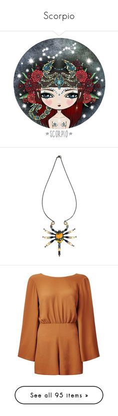 """Scorpio"" by love-ana ❤ liked on Polyvore featuring jewelry, necklaces, black, bee necklace, bumblebee necklace, sterling silver jewellery, bumble bee necklace, clasp necklace, jumpsuits and rompers"