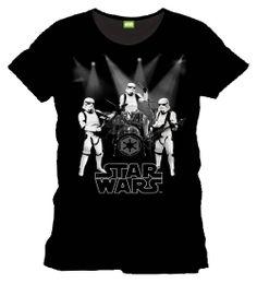 Camiseta banda rock Stormtrooper. Star Wars Divertidísima camiseta en color negro formada por el estupendo diseño muy original de tres soldados Stormtrooper tocando en una banda de rock. Camiseta 100% oficial y licenciada.