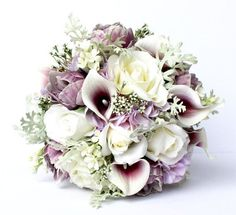 ***WE SHIP WORLDWIDE - READY TO SHIP*** This gorgeous wedding bouquet is made up of real to touch purple peonies, real to touch calla lilies,