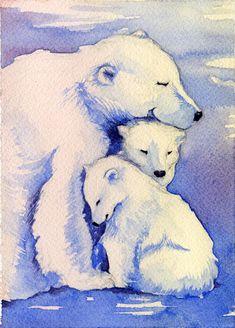 Polar Bear and Cubs WaterColor