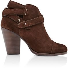 Rag & Bone Harrow Ankle Boots ($525) ❤ liked on Polyvore featuring shoes, boots, ankle booties, brown, suede ankle boots, brown boots, suede booties, high heel boots and suede bootie