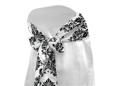 These chair sashes are great for any banquet or folding chair covers decorations. Material: Taffeta Bottom with Velvet Flocking Design. Color: black and white. Damask Wedding, Wedding Linens, Wedding Sash, Dream Wedding, Wedding Chair Sashes, Wedding Chairs, White Wedding Decorations, Christmas Decorations, Sell Wedding Dress