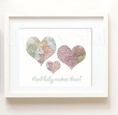 And Baby Makes Three Vintage Map Hearts Baby boy // Nursery decor new baby Map atlas travel theme // custom colors