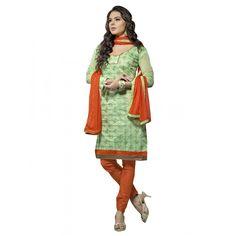 Casual Wear Chanderi Green Churidar Suit Dress Material  - 70029