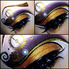 "Creative Steampunk themed fantasy eye art with crystal accents by MUA Sandra ""Castlefreak""."