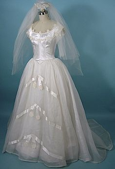 circa 1950s PRISCILLA OF BOSTON Wedding Gown with Veiled Small Headpiece