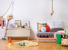 the boo and the boy: eclectic kids' rooms. LOVE the different patterns on the bed