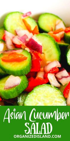 This Asian Cucumber Salad is delicious and refreshing. Made with just a few ingredients with a tangy dressing. Easy Salads, Simple Recipes, Healthy Salad Recipes, Amazing Recipes, Delicious Recipes, Dinner Meal, Breakfast Lunch Dinner, Dessert For Dinner, Best Breakfast Recipes