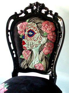 Black Sugar Skull Chair