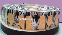 Torta con 12 cajitas en forma de porciones, realizada en papel ilustración de 300grs, totalmente personalizadas, incluye disco de telgopor forrado y cartel central -ideal para regalar golosinas como recuerdo de tu fiesta- www.facebook.com/identikid