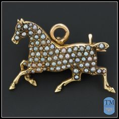 Antique 14k Gold & Seed Pearl Horse Pin or Pendant by A.J. Hedges & from trademark on Ruby Lane